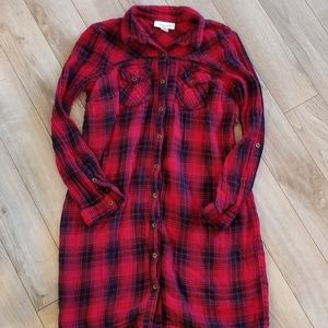 Motherhood maternity plaid long top
